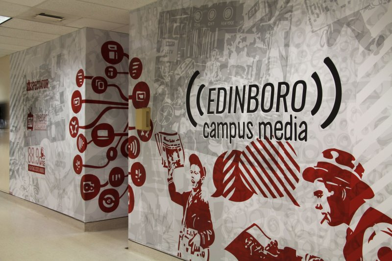 Mural symbolizes combination of campus media branches by Ciara Smith