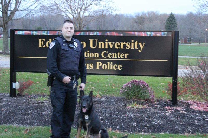 EU Corporal Aaron Honhart teams up with K-9 officer Benno  by Karlee Dies