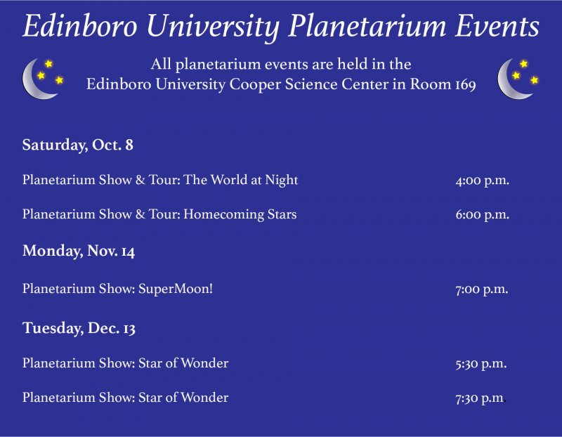 Planetarium offers shows and tours this winter and fall by Hannah Webster