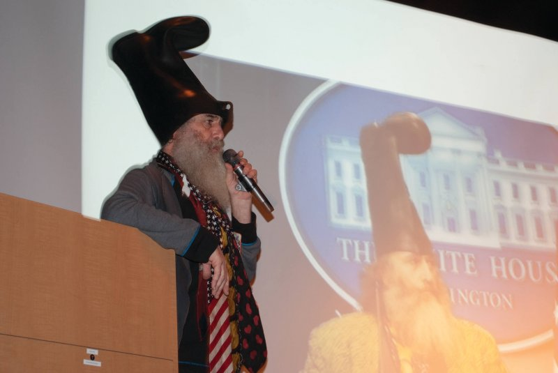 Vermin Supreme brings politics, stories and toast to Edinboro University during campaign by William Stevens